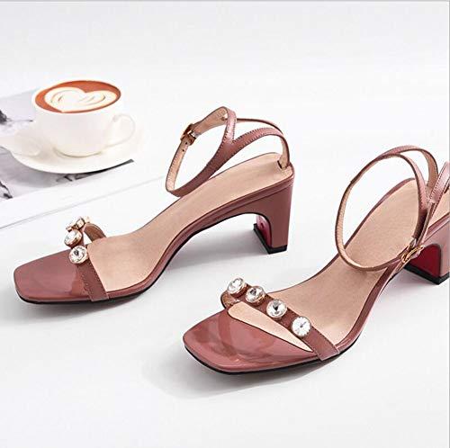 Moda Verano De Zapatos Para Gruesa Sandalias Mujer Pink Mujer Alto Tacón Hebilla w6I8wxfB