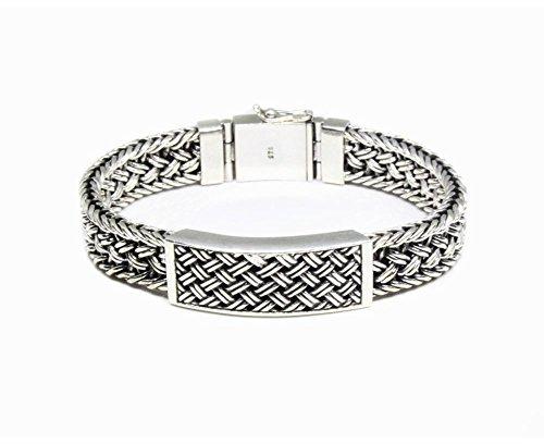 Bali Weave Bracelet - Heavy Duty Sterling Silver Bracelet, Solid Sterling Silver Weave Chain Bracelet, Men's Sterling Silver Bracelet
