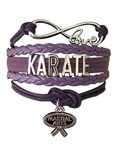 (Sportybella Karate Charm Bracelet - Infinity Karate Adjustable Charm Bracelet with Martial Arts Charm for Her)