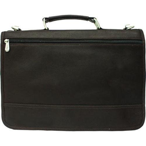 Piel Leather Two-Section Expandable Laptop Portfolio, Black, One (Leather Two Section)