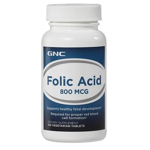 GNC Folic Acid 800 MCG 100 Vegetarian Tablets