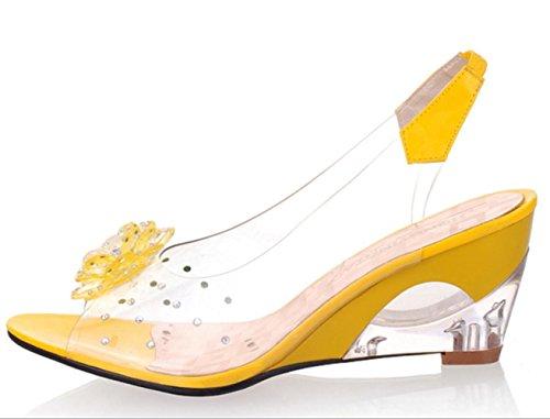 Luce YCMDM donne sandali primavera-estate Soles similpelle Casual Zeppa Nero Blu Giallo Rosso Bianco , yellow , us7.5 / eu38 / uk5.5 / cn38