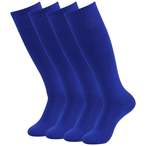 (Getspor Unisex Athletic Tube Socks, Wicking Moisture Knee High Solid Long Soccer Softball Sport Socks Blue 4 Pairs)