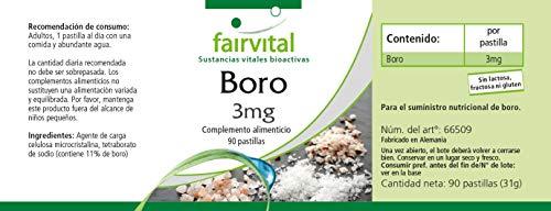Boron 3 mg - GRANEL durante 3 meses - VEGAN - 90 comprimidos - elementos traza de tetraborato de sodio: Amazon.es: Salud y cuidado personal