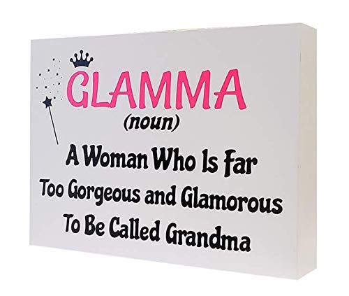 JennyGems Glamma Signs, Glamma (Noun) A Woman Who is Far Too Gorgeous Glamorous to Be Called Grandma - Wooden Contemporary Definition Sign - Glamma Gifts - Best Grandma, Sentimental Gift