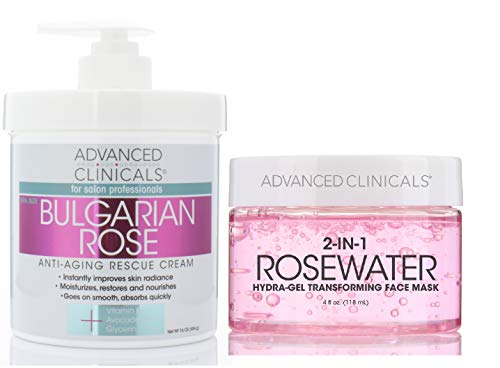 Advanced Clinicals Bulgarian Rose Cream & Rosewater Gel Mask set. Anti-aging skin care set features moisturizing cream w/Bulgarian rose for face and body and Gel mask for wrinkles and fine lines.