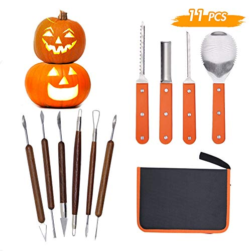 Lulu Home Halloween Pumpkin Carving Kit, 10 Pieces Professional Pumpkin Cutting Supplies for Jack-O-Lanterns with Bag