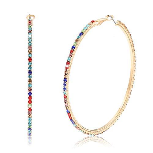 BSJELL Hoop Earrings for Women Large Rhinestone Dazzling Earrings Big Colorful Circle Dangle Hoops for Sensitive Ears (Colourful)