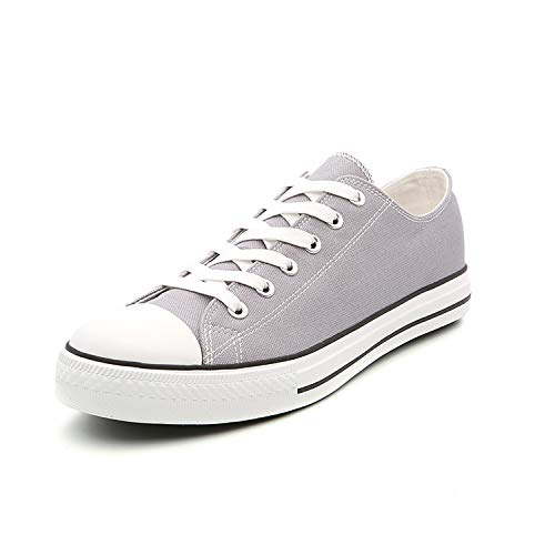 Men Classic Canvas Shoes Casual Low Top Lace Up Fashion Comfortable Walking Sneakers (9.5 M US, Grey)