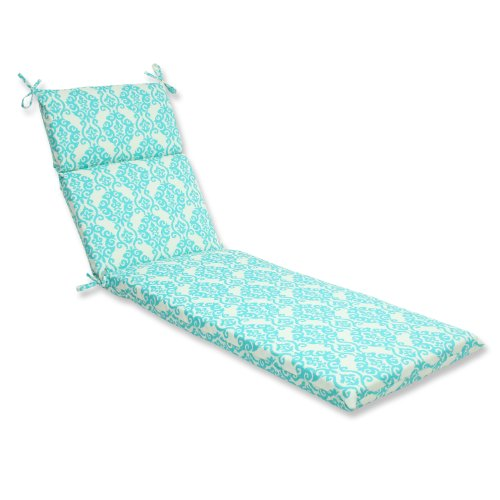 Pillow Perfect Outdoor Luminary Chaise Lounge Cushion, Turquoise by Pillow Perfect