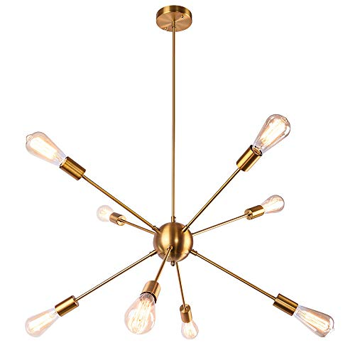 - OYI Sputnik Chandelier, 8 Lights Chandelier Pendant Lighting Mid Century Modern Industrial Starburst Style Ceiling Light Fixture E26 Socket Brass Finish