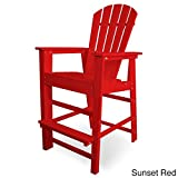 POLYWOOD SBD30SR South Beach Bar Chair, Sunset Red