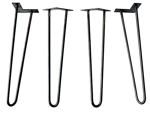 Original Hairpin Legs - Made in USA - Cast & Grain - Set of 4 (22 in, Satin Black)
