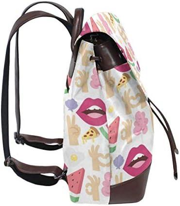 Sac à bandoulière en Cuir, Sac d'extérieur et Cartable pour Femmes Mignonnes lèvres Rouges