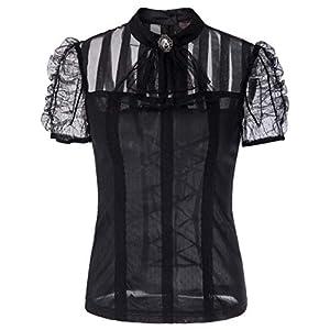 Women Gothic Lace T Shirt Tops Short Sleeve Renaissance Blouse