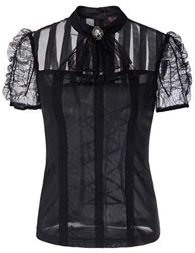 Victorian Gothic Renaissance Blouses Shirts Top Short Sleeve Pirate Costume SL005-1 Black 2XL
