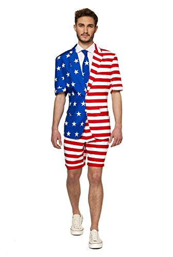 Suitmeister USA Suit with American Flag Print for Men Coming with Pants, Jacket & Tie - Perfect for 4th of July ()