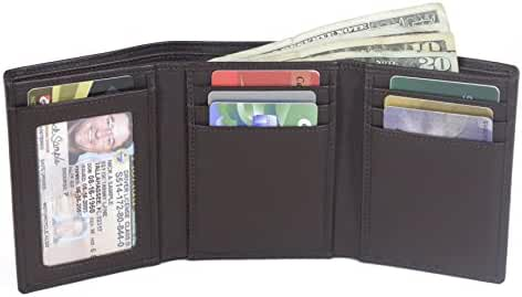 Trifold 8 Slot RFID Wallet with ID Slot - Genuine Leather - RFID Blocking Wallets for Men