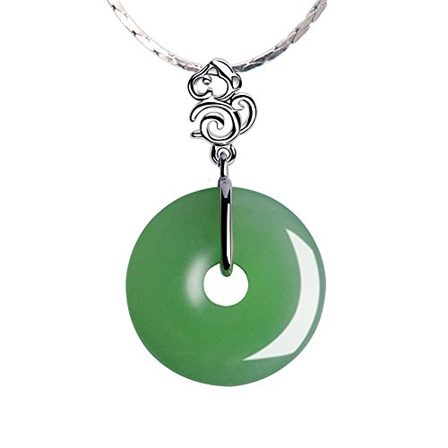 iSTONE Natural Green Aventurine Pendant 925 Sterling Silver Chinese Zodiac Donut Pendant Necklaces Fine Jewelry Gift for Women
