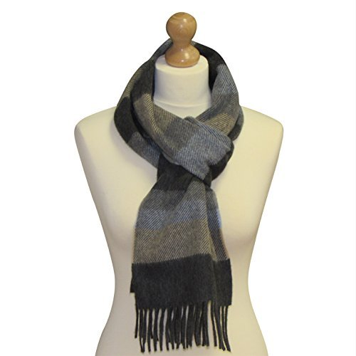 "Irish Merino Cashmere Wool Scarf by Carnua Ireland. 78"" x 10"" Long Scarf for Men and Women (Dark grey with subtle pale blue, grey and sand) by Carnua"