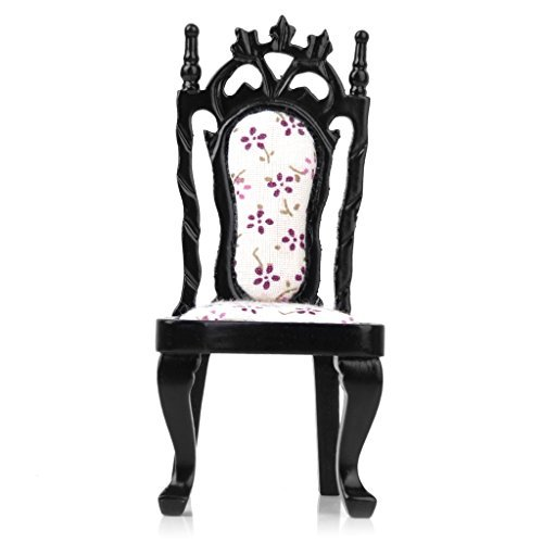 [No brand goods] dollhouse chair Bar stools chair wooden floral two-color handmade 1/12 (black)