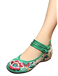Liveinu Women's Double Strap Embroidered Low Wedge Mary Jane Shoes