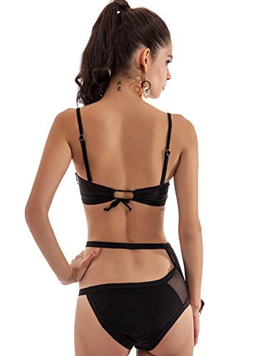 DATO Damen Bademode Triangel Bikini Schwarz Hohl Taille Badeanzug