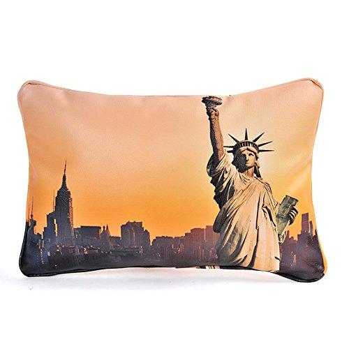 (BPAGO Animal Africa Elephant Giraffe Fantasy Leather Decorative Throw Pillow with Insert Premium Car lumbar pillow office chair lumbar (12 X 16 inch, Statue Of Liberty))