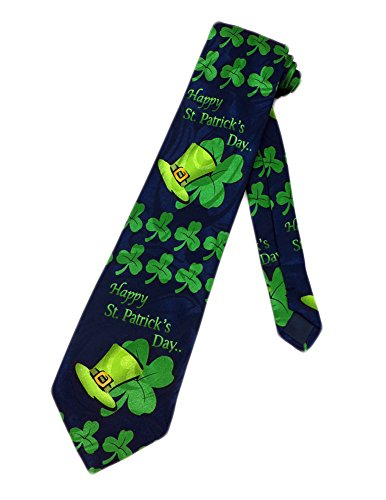 Leprechaun Tie - Steven Harris Men's St. Patricks Day Shamrocks Necktie - Blue