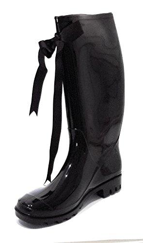 Brillo De Lazo Brandelia Elegantes Botas Negras Con Lluvia Negro Goma Color Impermeables Estilosas Mujer Decorativo Gloss Agua q5z75rwF