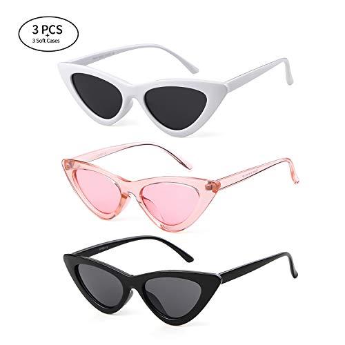 Gifiore Retro Vintage Cat Eye Sunglasses for Women Clout Goggles Plastic Frame Glasses (Black&White&Pink, 51) ()