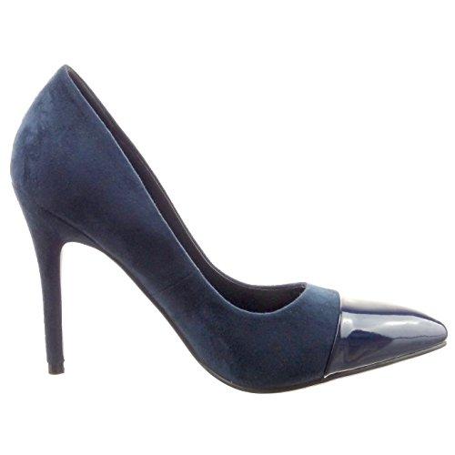 Sopily - damen Mode Schuhe Pumpe Dekollete Stiletto glänzende Patent - Blau