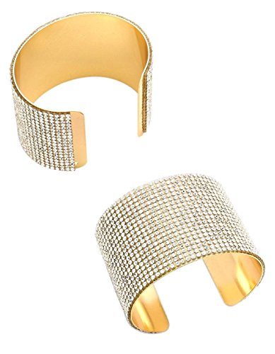 Jennifer Sparkling Wide Crystal Pave Cuff Bracelet Boxed (#173) (Gold Clear)