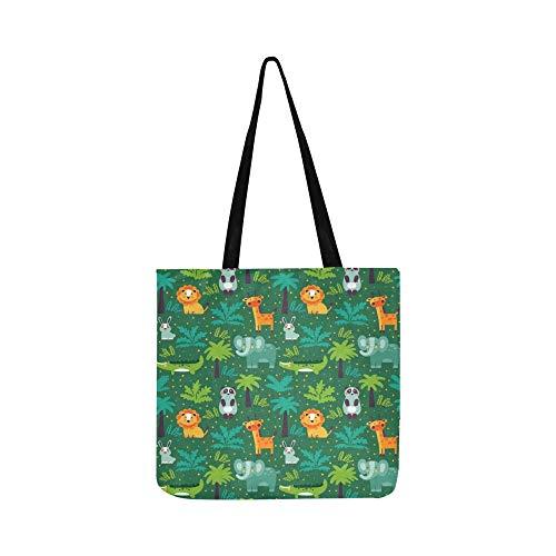 Funny Animal White Canvas Tote Handbag Shoulder Bag Crossbody Bags Purses For Men And Women Shopping Tote