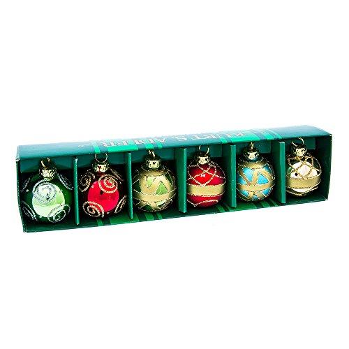Kurt Adler Glass Place Card Holder Ornament, 1.57-Inch, Set of 6
