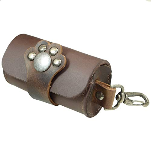Hide & Drink, Thick Leather Small Poop Pouch W/Paw Snap, Pet Supplies, Dog Walker Essentials, Accessories, Handmade Includes 101 Year Warranty :: Bourbon Brown
