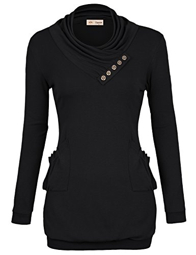 Timeson Womens T-Shirt Long Sleeve Cowl Neck Buttons Tunic Top with Pockets Large Black