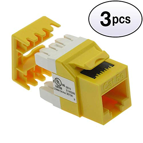 GOWOS (3 Pack) Cat.5E RJ45 110 Type 180° Keystone Jack Yellow