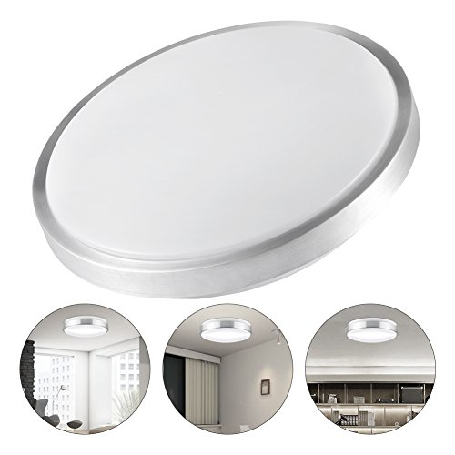 LEDGLE 25W LED Flush Mount Ceiling Light Round Ceiling Lamp Surface Mounted Downlight, Daylight White 6000K, 220W Incandescent Bulbs Equivalent, Non Dimmable, 1800lm, 100-120V, 13.6'' (Elegant Ceiling Mounted Lamps)