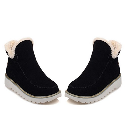 Solid Toe on Closed Women's Low Imitated Black Suede Heels AgooLar Boots Pull Round a5Z1x5w