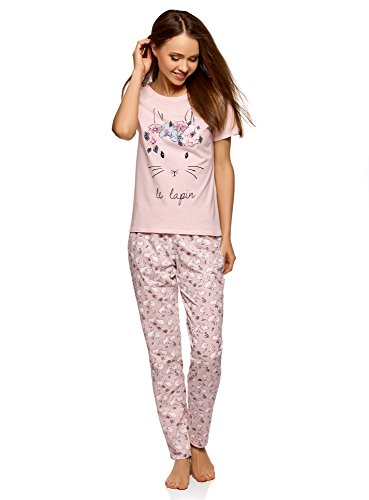 (oodji Ultra Women's Cotton Pajama Set with Pants, Pink, US 4 / EU 38 /)