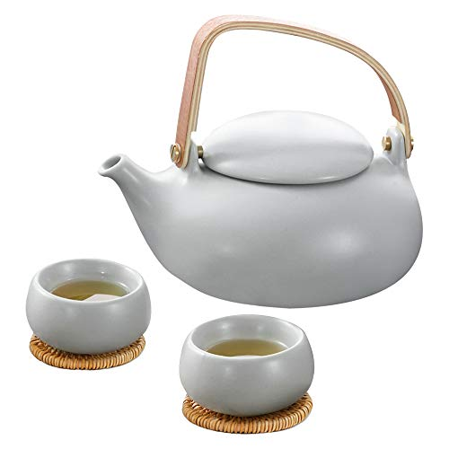ZENS Tea Pot Set with Infuser,China Ceramic Tea Pot Gift Sets for Women,Mordern Teapot Set for Loose Leaf Tea Pots Lover with 2 Tea Cups & Rattan Coasters,27 OZ / 800 ml,Gray