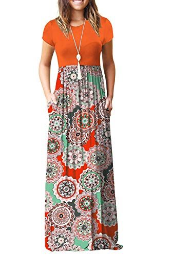 MISFAY Women Short Sleeve Loose Plain Maxi Dresses Casual Long Dresses Pockets (Orange Round Orange, M) ()