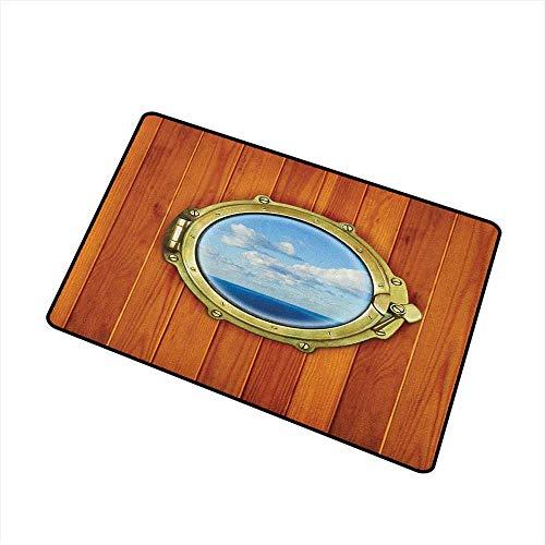 Nautical Crystal Velvet Doormat Porthole on Wooden Background Window Ship Old Sailing Vessel Print Rustic Home Decor 16