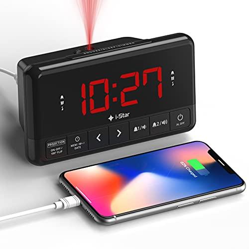 Wekker met Projectie, Digitale Projectiewekker met USB-oplader, Dubbel Alarm, Sleeptimer, Snoozeknop, Groot display…