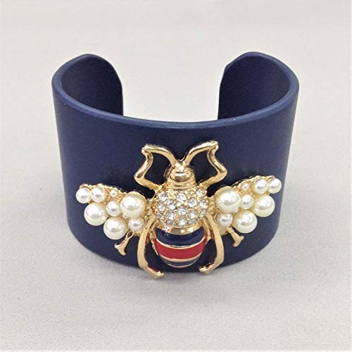 Designer Inspired Navy Faux Leather Bee Insect Pendant Open Cuff Bangle Bracelet
