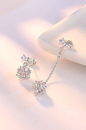 Generic Korean version of the small fresh length asymmetrical cube earrings women girls lady simple and stylish inlaid zircon ear jewelry love window