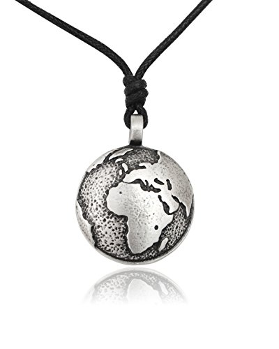 Globe Earth Silver Pewter Charm Necklace Pendant Jewelry