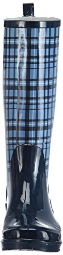 Trendiger Karo De Bleu Gummistiefel Damen Neige Playshoes Femmes Bottes 6wq56T