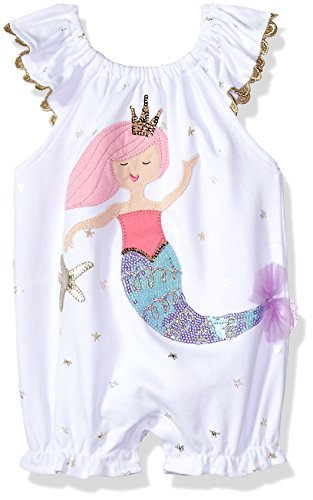 (Mud Pie Baby Girls Mermaid Flutter Sleeve Bubble Romper Playwear, White, 6-9)